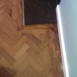 parquet floor restoration job on progress